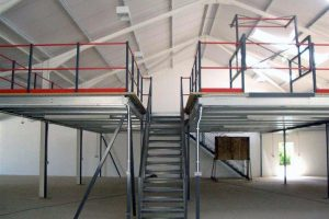Storage Mezzanine Floor Showing Staircase and Pallet Gate