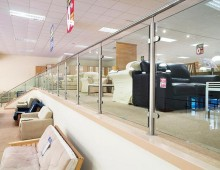 Chrome and Glass Edge Protection on Retail Mezzanine in Bradford