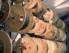 Coil Racking fully loaded with large cable reels