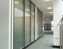 Komfire office partitons corridor in Leeds