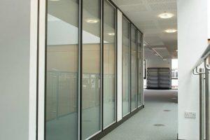 Komfire office partitons corridor in Leeds