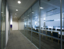 LS90 office partitions with polar glass partitions