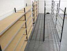 Longspan shelving in the process of being built