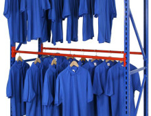 Longspan Stockroom Shelving with Garment Hanging Rail