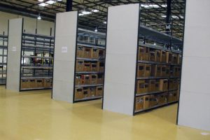 Longspan shelving with steel cladding to the ends