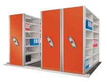 Mobile Office Shelving With Red Panels