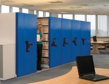 Mobile Archive Shelving c/w Blue Decorative End Panel