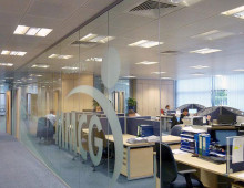 Polar Glazed Office Partitions with Logo