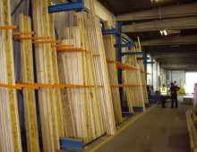 Vertical Rack Storing Lengths of Timber