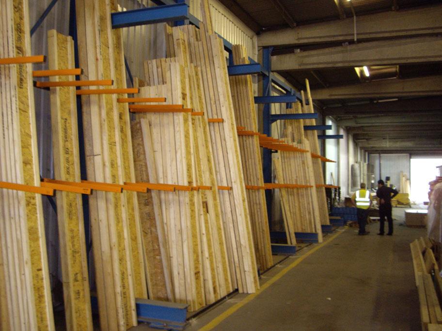 Vertical Rack Storing Lengths of Timber