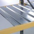 Galvanised shelf panel for pallet racking