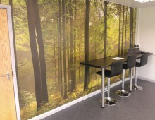 Office Partitions installation with wall art in Leeds