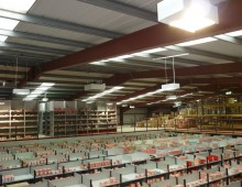 Overview of a warehouse with euro shelving