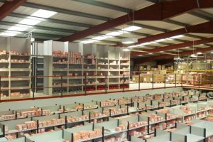Warehouse mezzanine floor with shelving