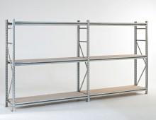 Longspan galvanised shelving with chipboard decks