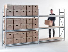 Galvanised longspan shelving with boxes