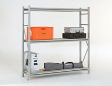 Galvanised longspan shelving with props