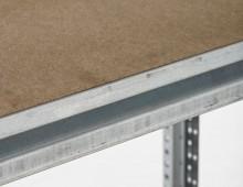 Galvanised longspan shelving beam and chipboard shelf