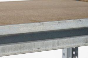 Galvanised longspan shelving close up of beam
