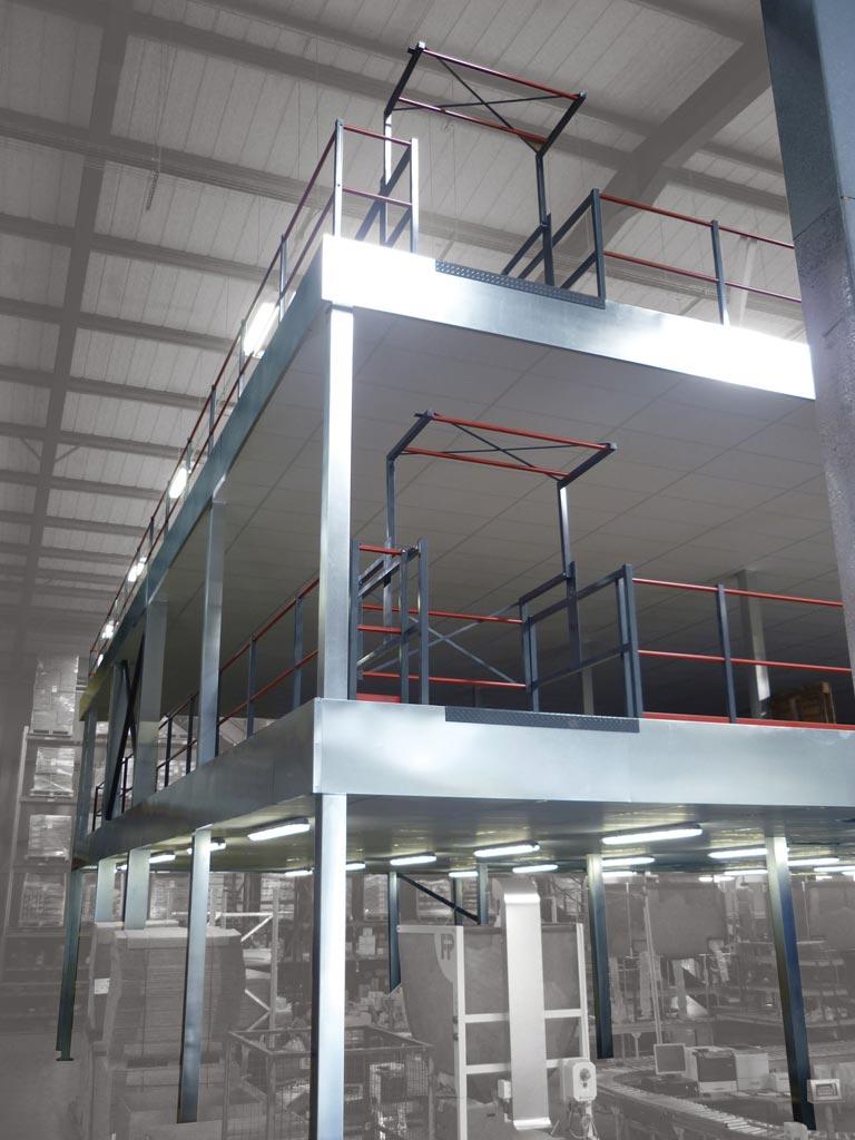 Fire rated multi tier warehouse mezzanine floor