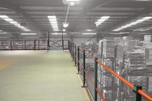 Warehouse Mezzanine Floor Top Level With Hand Rail
