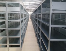 Steel shelving ready to loaded with boxes