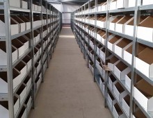 shelving with file boxes