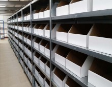 steel shelving with boxes