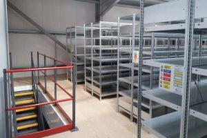 steel shelving on mezzanine