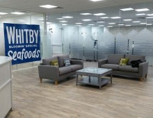 Whitby Seafoods glazed office partitioned reception area