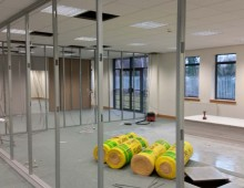 Work in progress office partitioning installation