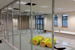 Work in progress office partitioning installation