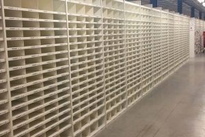 Large scale steel warehouse shelving system