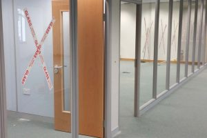 Glass partition corridor