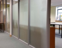 Framed glass office partitions